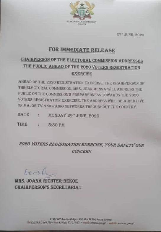 EC addresses the public ahead of the 2020 Voters Registration