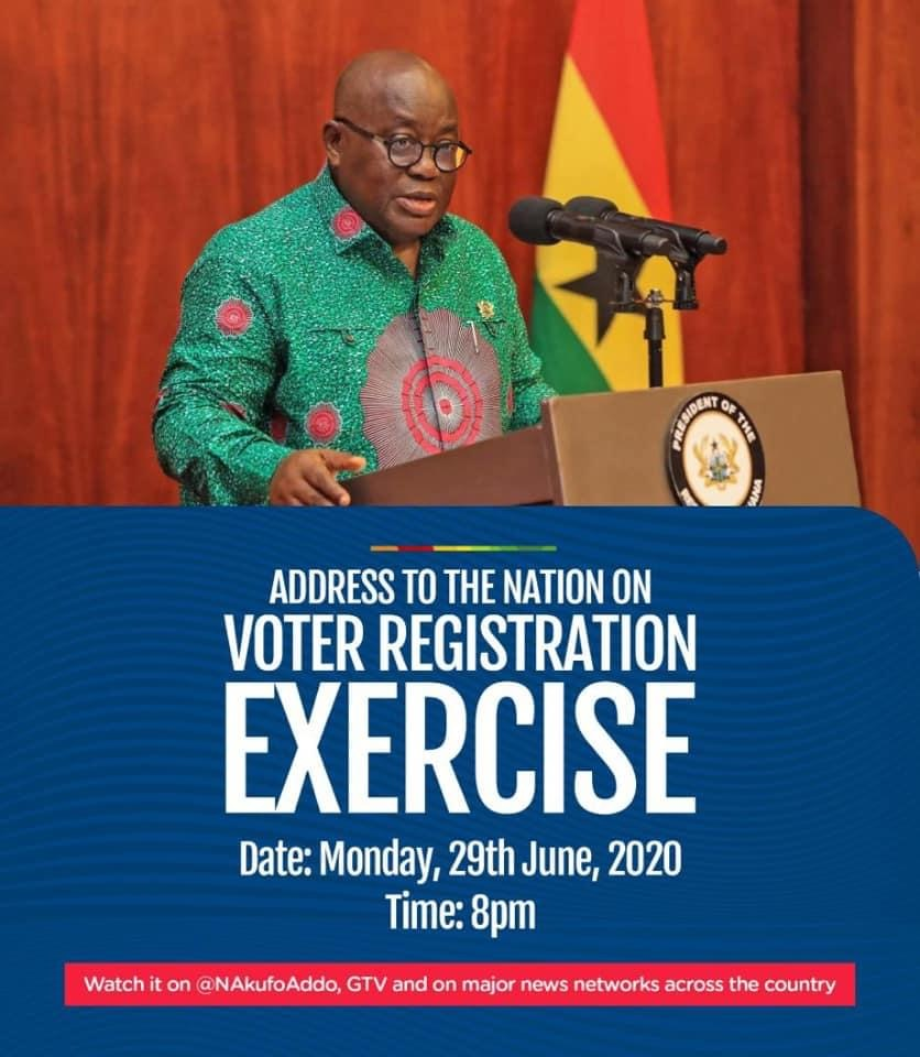 President Akufo-Addo will address the Nation 8pm new Voters' register for 2020