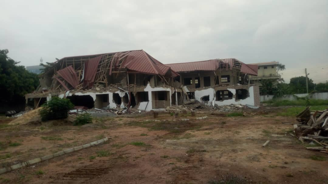 The demolished site of the Nigerian mission's staff quarters in Accra Ghana